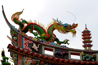 Colorful dragon atop a Chinese Buddhist temple in Tokyo