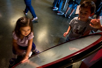 Adelyn and Avery play with spinning magnets