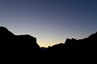 Yosemite sunrise with waning crescent moon