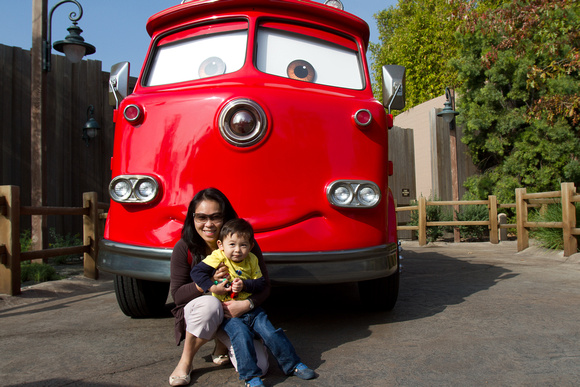 Natalie and Avery with Red at Cars Land