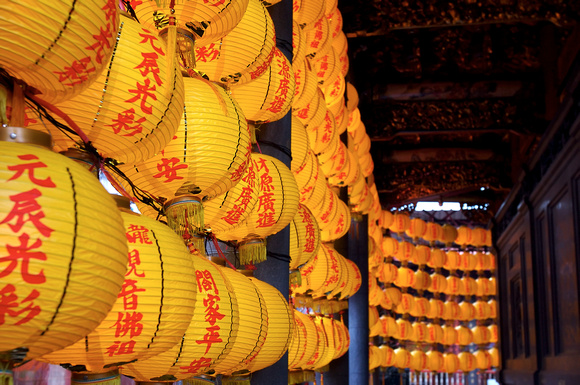 Yellow lanterns at Longshan Temple  in Taipei