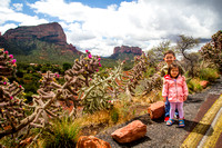 Avery and Adelyn pose on Chapel Road, Sedona, AZ