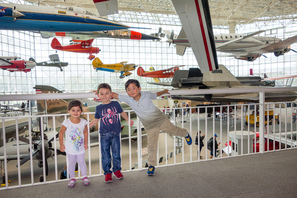 Adelyn, Avery, and Kyson at the Seattle Museum of Flight