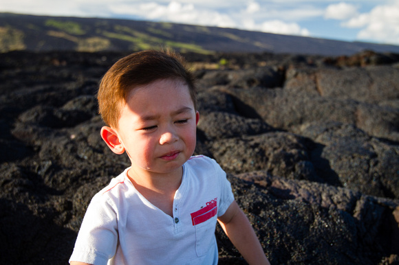 "I call this piece: ""Not listening to Daddy about the risks of running on lava rock."""